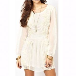 Free People Ivory Sheer Lace Leigh Mini Dress L